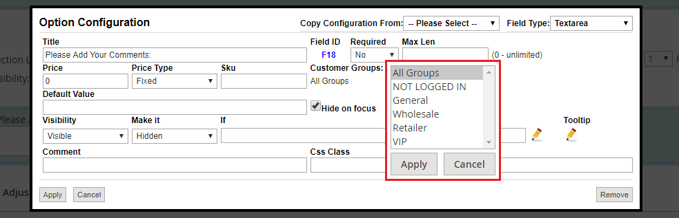 Custom Options for Customer Groups in Magento 2