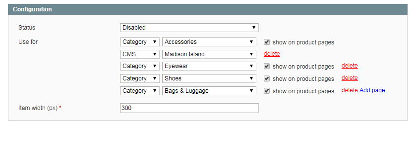 Configure Pages for Menu Sliders in Magento