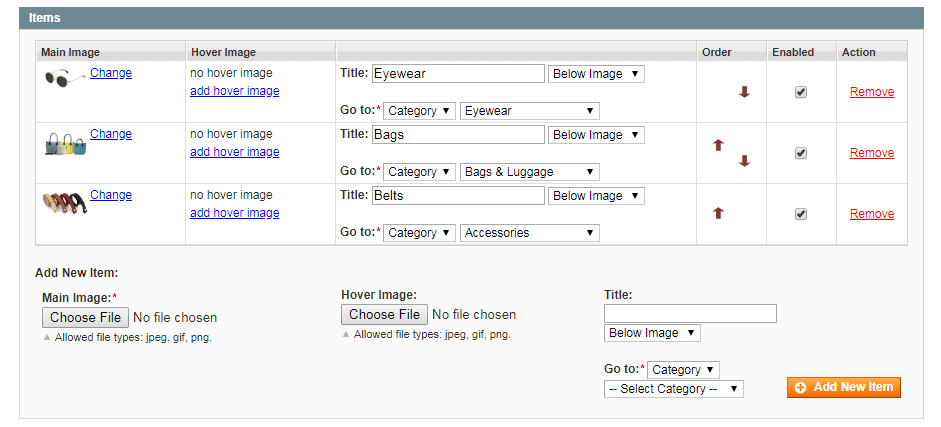 Configure Images for Menu Sliders in Magento