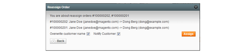 Reassign Multiple Orders in Magento