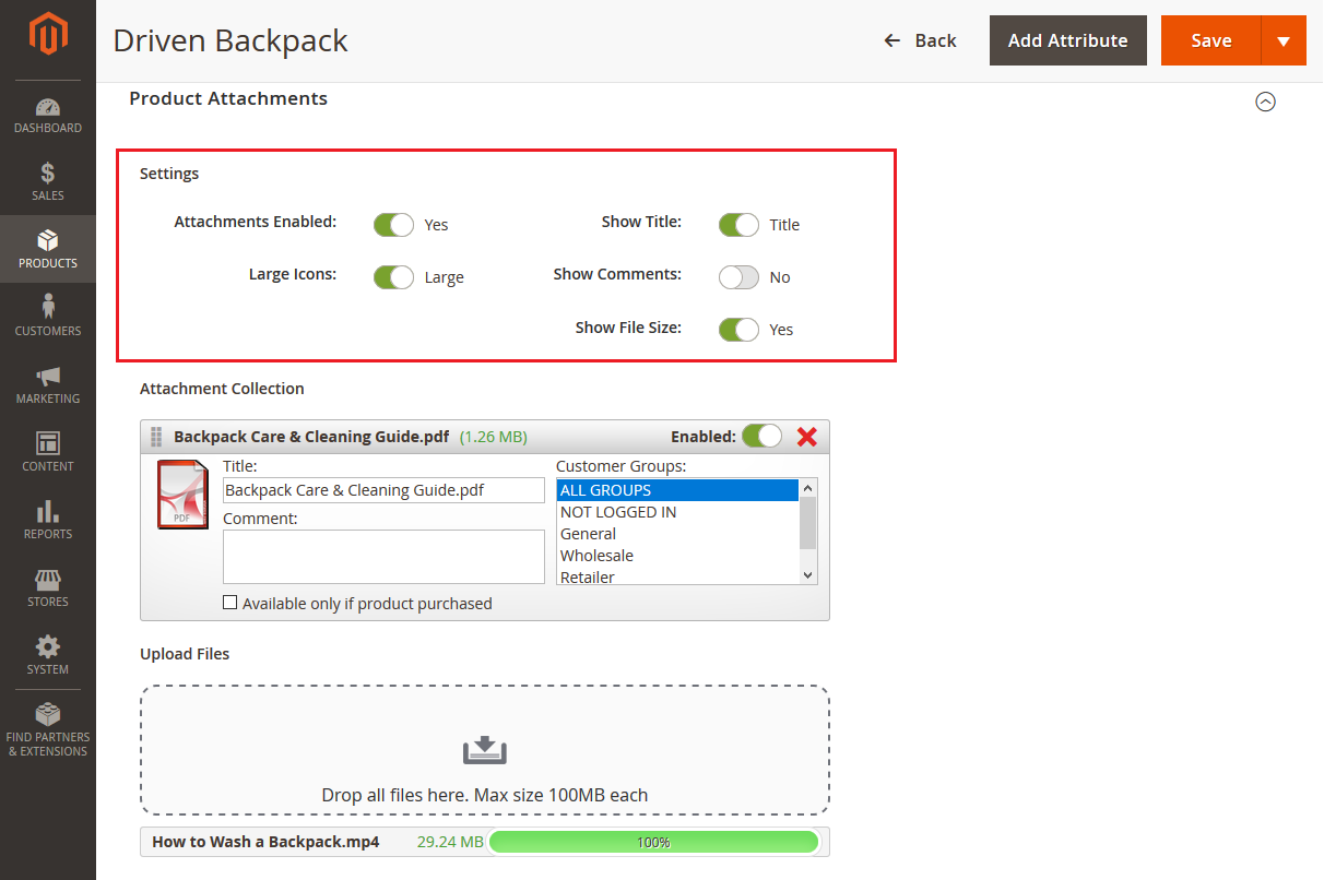 How to Manage Attachments in Backend in Magento 2