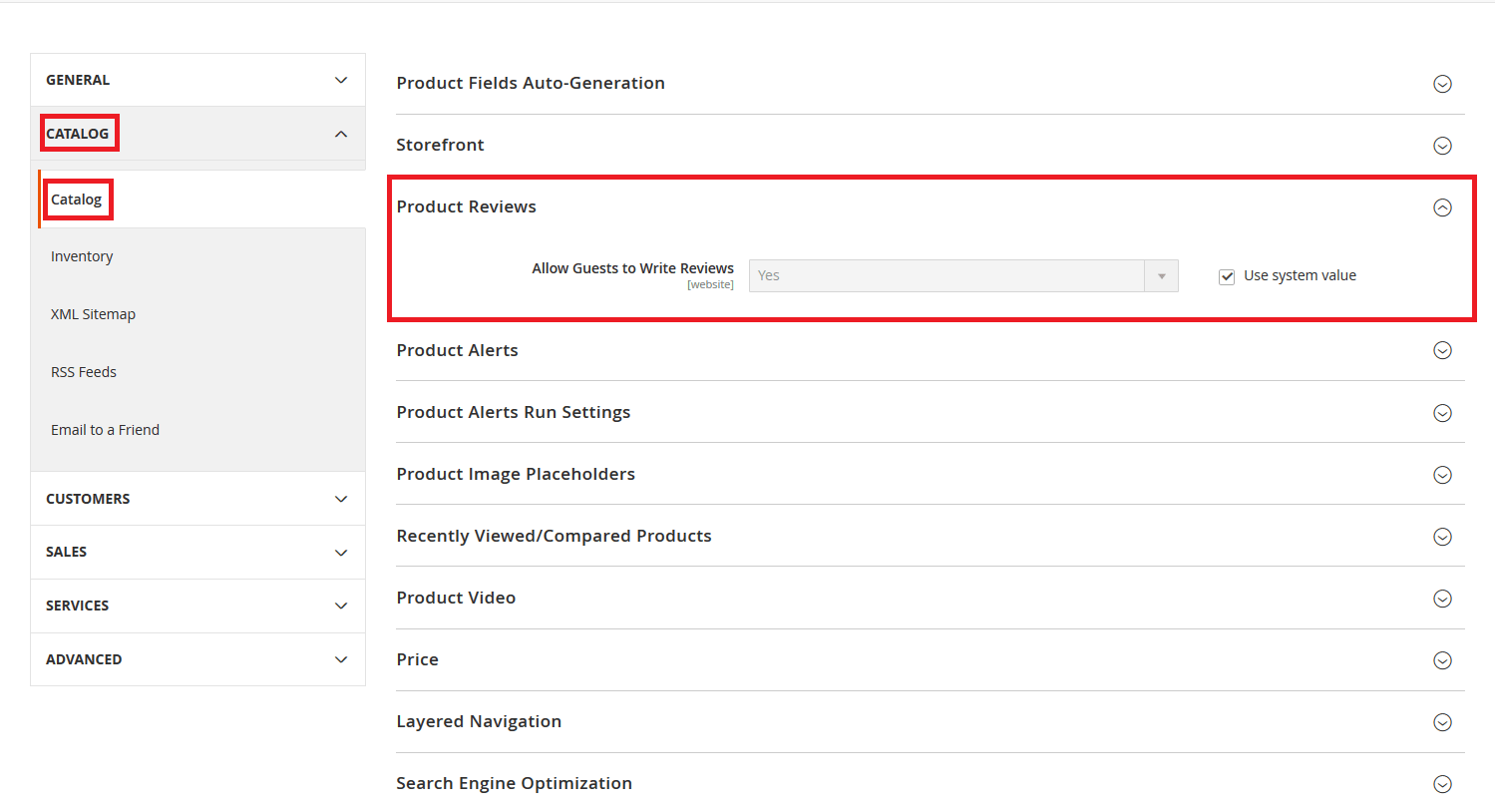 Product Review settings in Magento 2