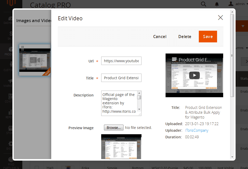 Backend: Edit Videos in Magento 2