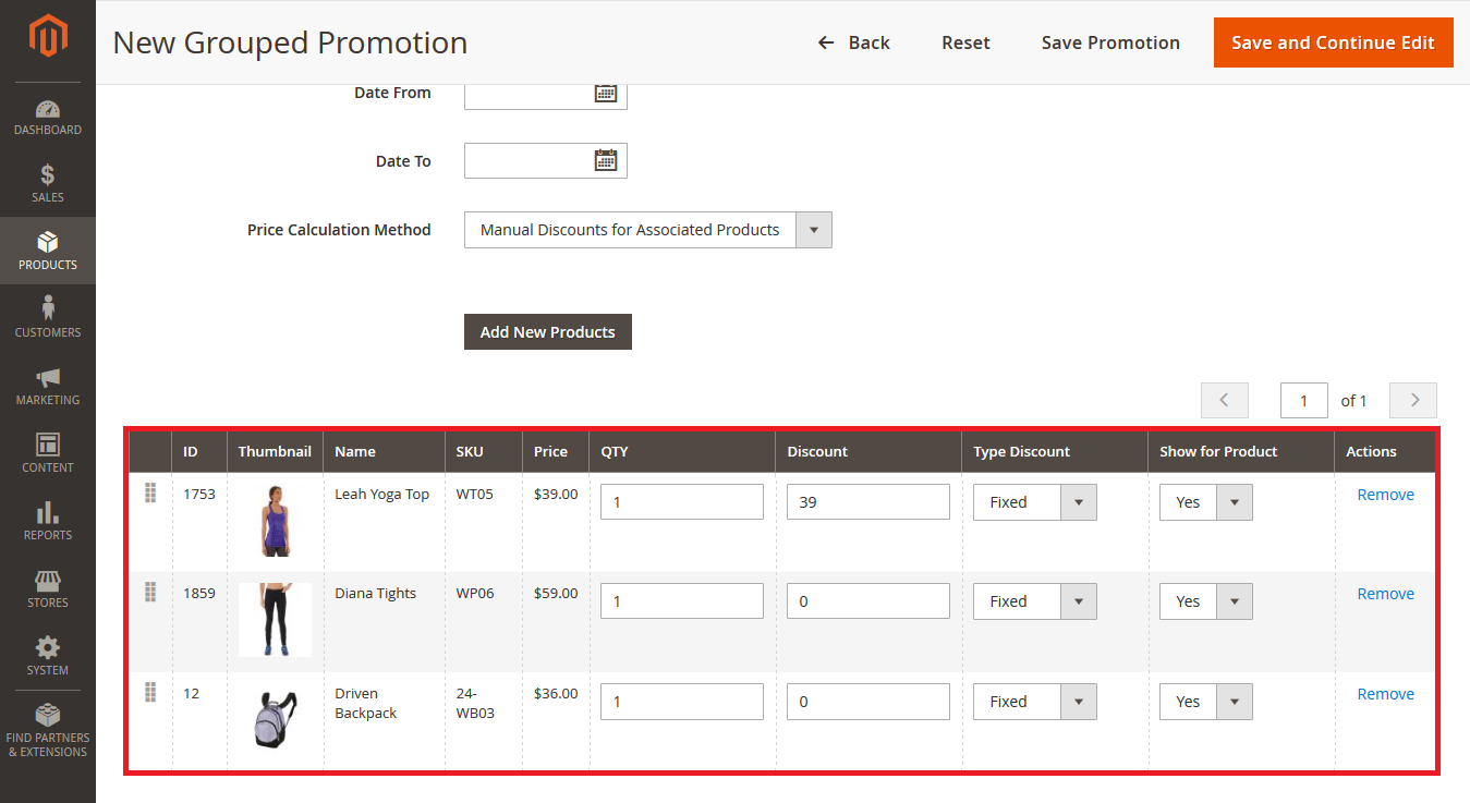 Choose a Price Calculation Method in Backend