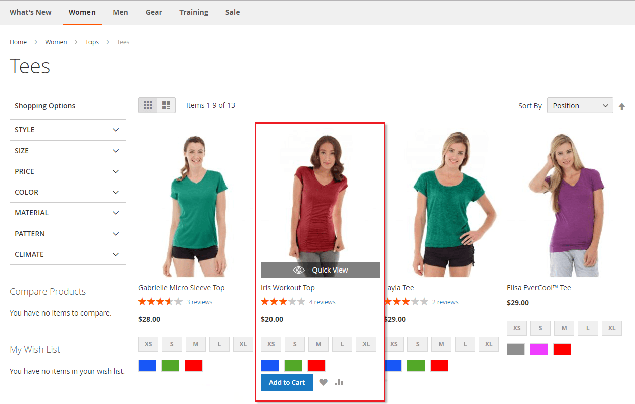 The Quick View Button on Catalog Pages in Magento 2