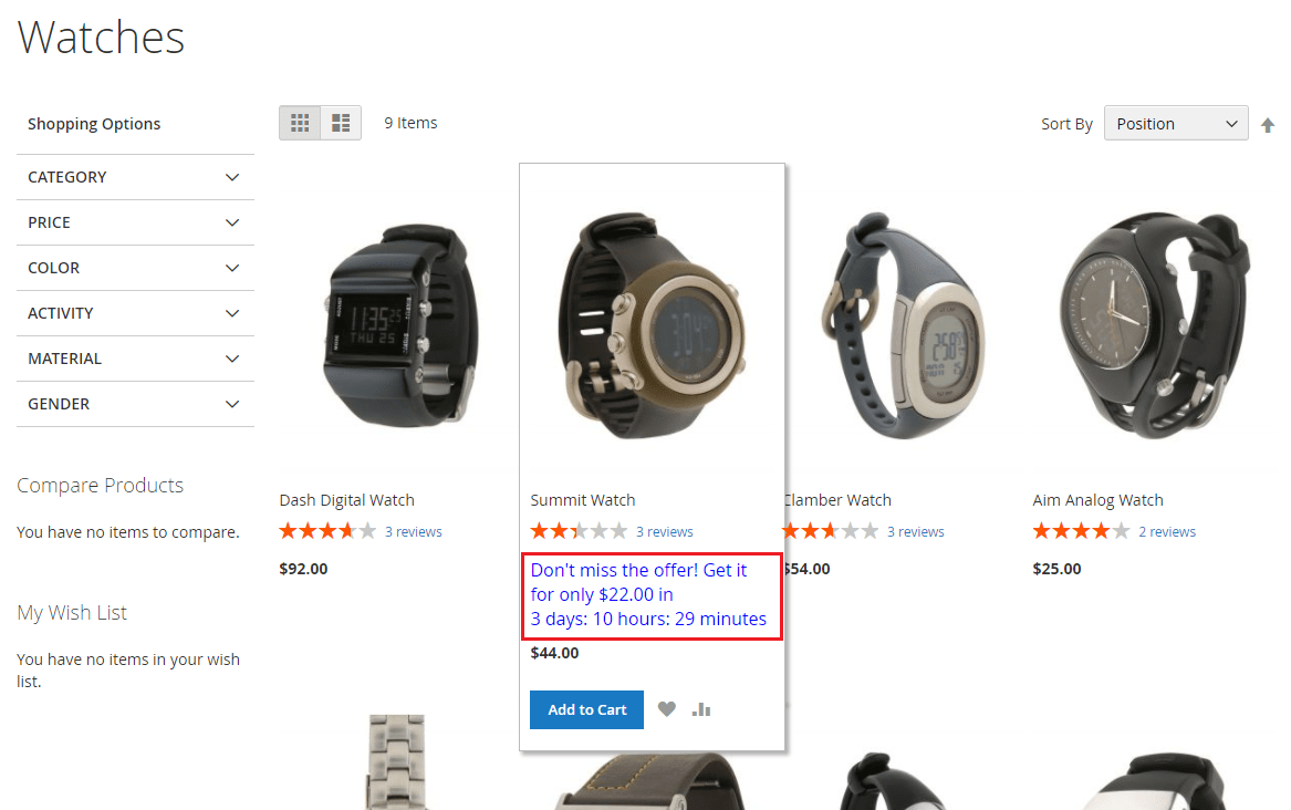 How to Enable the Start Countdown on Category Pages