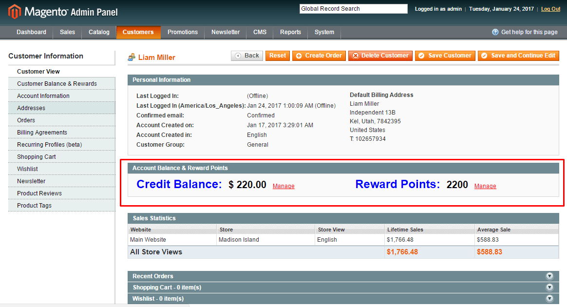 customer-account-balance-reward-points