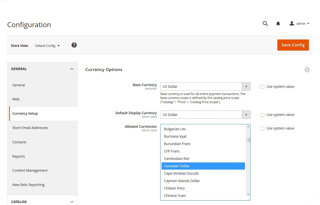 How to Configure Currency Options in Magento 2