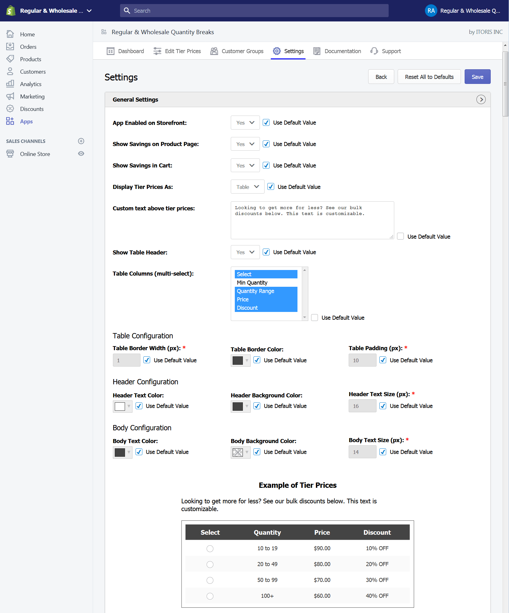 Shopify quantity breaks general settings