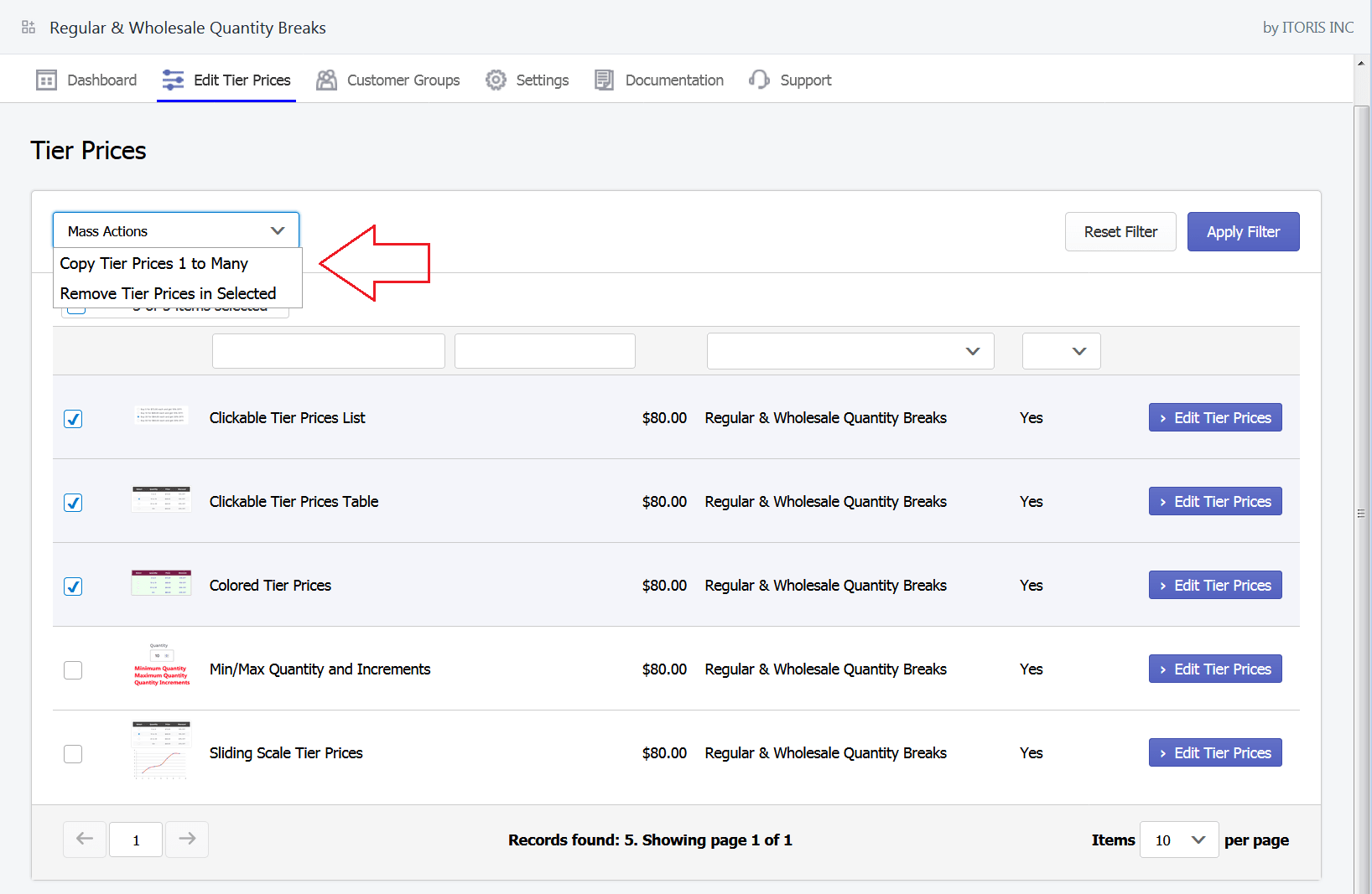 Shopify quantity breaks mass actions