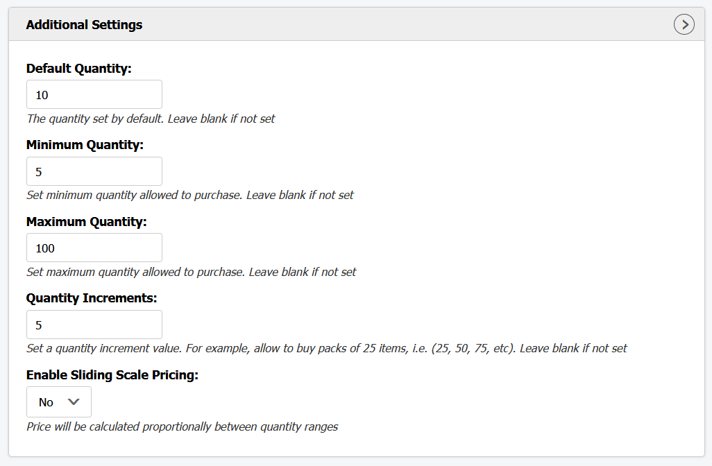Shopify quantity breaks additional settings